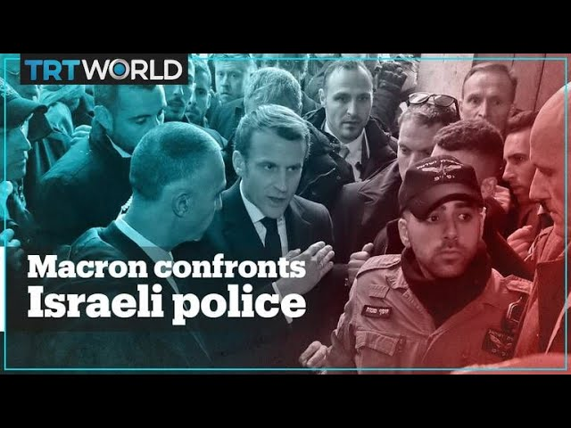 French President Emmanuel Macron yells at Israeli police
