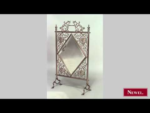 Antique French Victorian brass fire screen with filigree