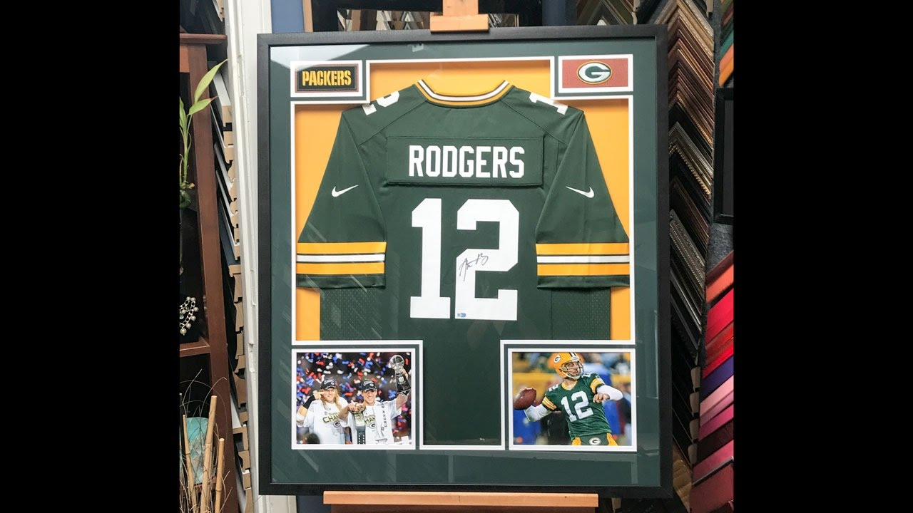 more photos b4f5f 1f59c Framing a signed Aaron Rodgers Jersey with Photos and Patches