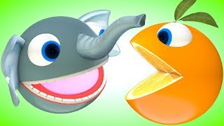 Pacman meets a Elephant eats candy when he roll around grass hill find surprise toy