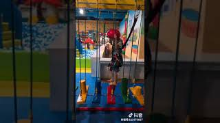 Adventure Indoor Rope Course With Many Obstacles For Kids Playing