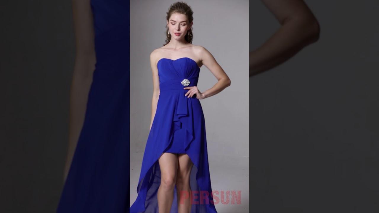 Robe Bleu Courte Devant Longue Derriere Bustier Coeur Youtube