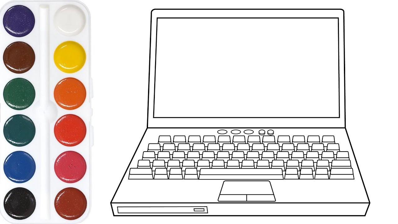 Coloring For Children With Laptop, Computer & Computer mouse | Coloring  Pages For Children