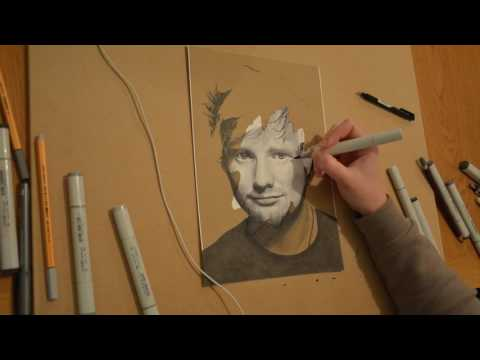 Ed Sheeran drawing timelapse - copic markers speed painting art