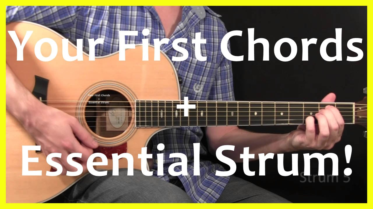 Guitar Lessons - Your First Chords And Strum - YouTube