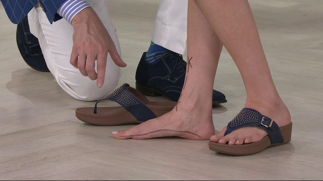 11db4c353470 Vionic Orthotic Platform Sandals w Studs - Capitola on QVC - YouTube