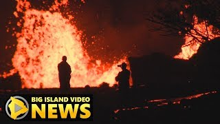 Active Fissures In Leilani Estates Light Up Night Sky (May 25, 2018)