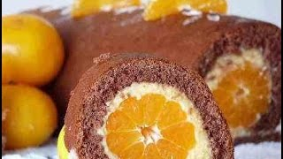 Новогодняя выпечка! Бисквитный рулет с мандарином и заварным кремом! Простой рецепт!