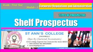 Shelf Prospectus || B.com First Year || Module 3