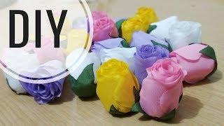 DIY Cara Membuat Mawar Kuncup Asahi Tutorial Rose Bud Fabric Flower for beginner