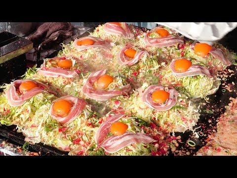 Japanese Street Food - OKONOMIYAKI Seafood Pancake Japan