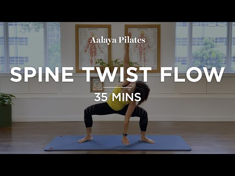 Spine Twist Flow Pilates Matwork Level 2 35 mins Full body workout for the legs, butt & core