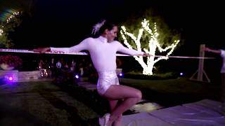 Elegant and Energetic Fire Slack Line Performance for a Wedding Pre-party