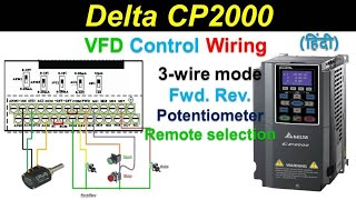 Delta Drive Parameters Setting Cp2000 C2000 3 Wire Remote Start Stop Reverse Forward Youtube