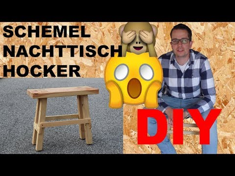 DIY Anleitung Schemel selber machen Nachttisch Holz Hocker selber bauen Bauholz Möbel Bauanleitung