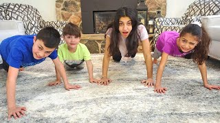 Staying home pushup challenge with HZHtube kids fun