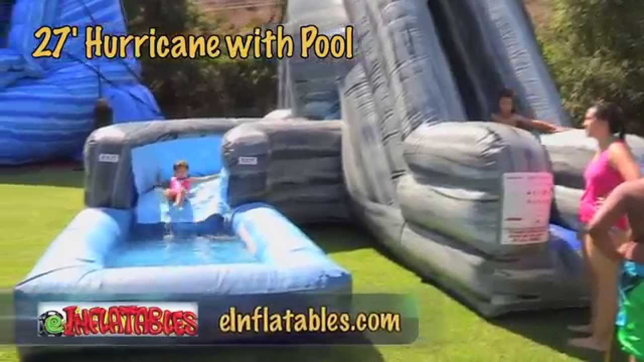 Ultimate Inflatable Backyard Water Park 27 foot 'hurricane' inflatable water slide with pool | einflatables