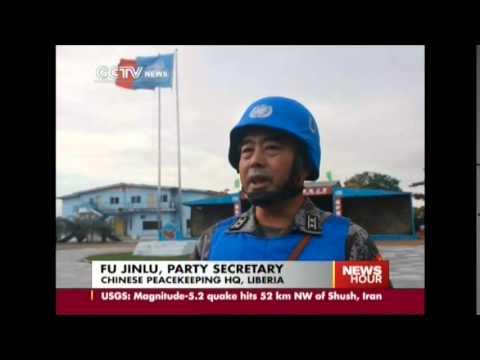 Chinese peacekeepers escort Ebola medical team in Liberia