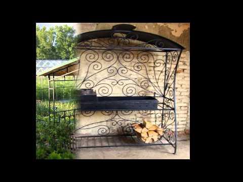 Кованый мангал для дачи с крышей своими руками