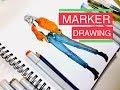 Fashion illustration marker drawing - Street style | inkfizz
