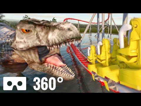 360 video VR – Jurassic Park Lost World Roller Coaster Dinosaurs T-Rex 360°
