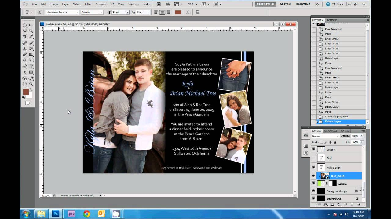 How To Design Wedding Invitations In Photoshop YouTube - Photoshop wedding program template