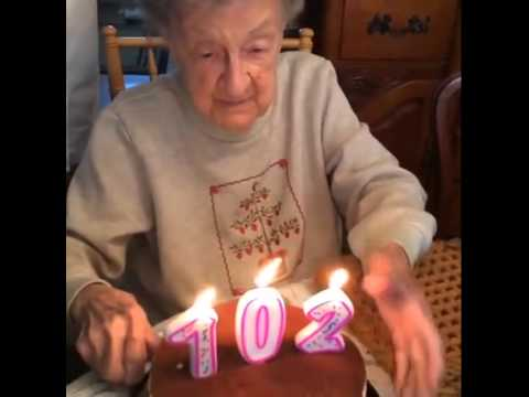 102 grandma blows out candles - funny videos