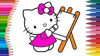 การ์ตูน คิตตี้ - สมุดระบายสีสำหรับเด็ก - สมุดระบายสีมือขนาดเล็ก