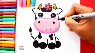 Aprende a dibujar una VACA KAWAII fácil | How to Draw a Cute Cow easy