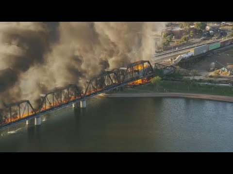 Rail bridge over Tempe Town Lake partially collapses following train ...