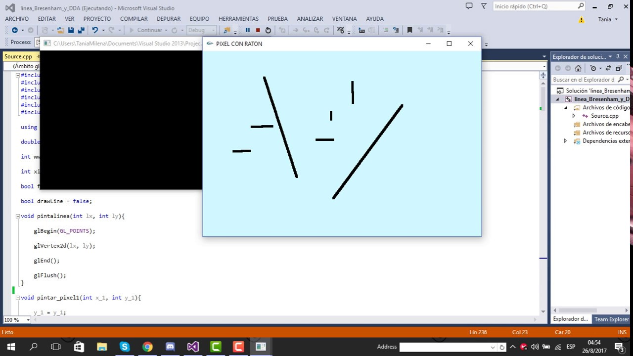 Line Drawing Algorithm Java : Linea por dda y bresenham youtube