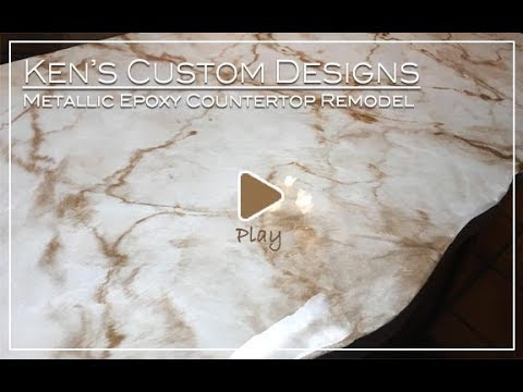 Refinish Kitchen Countertops for Less Money with Metallic Epoxy Colors!