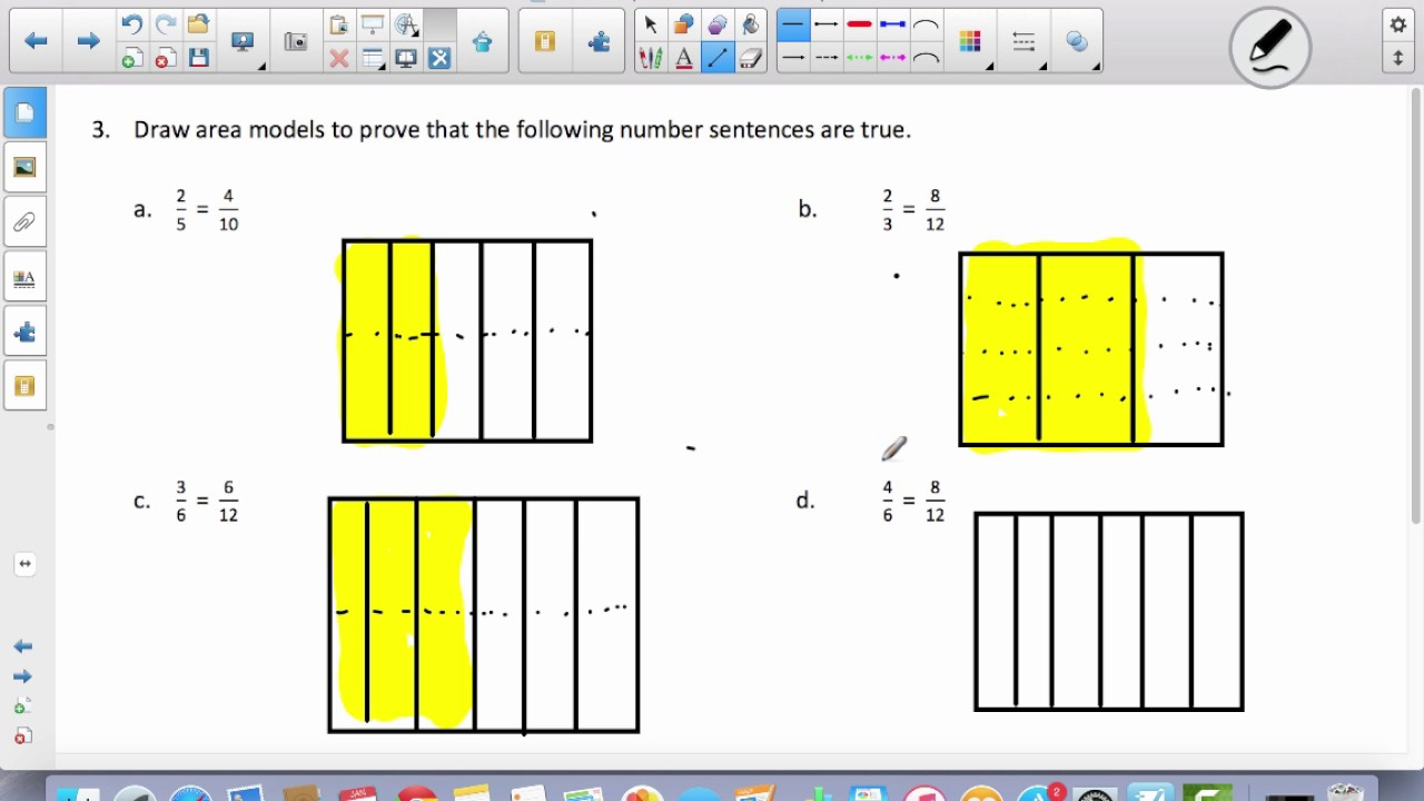 hight resolution of Fraction Equivalence Using Area Model (examples