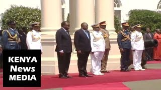 President Uhuru receives President Hage Geingob of Namibia with GUN SALUTE and GUARD of HONOUR!!