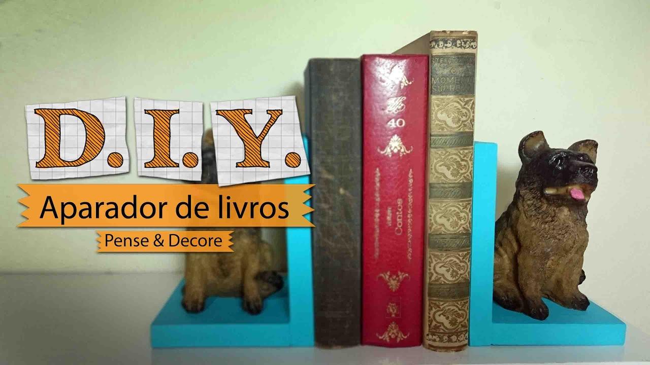 Artesanato Com Madeira Pregos E Linha ~ DIY Como fazer um aparador de livros Aparador de livro fácil e barato YouTube