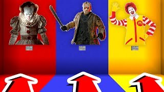 DO NOT CHOOSE THE WRONG BUTTON in Minecraft! (Ronald McDonald, Jason Voorhees, Pennywise)