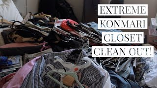 VLOGUST 10 // EXTREME KONMARI CLOSET DECLUTTER // DECLUTTER AND ORGANIZE WITH ME