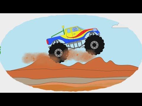 Мультик - Раскраска. Учим Цвета - Монстр-трак на полосе препятствий - Monster truck stunts