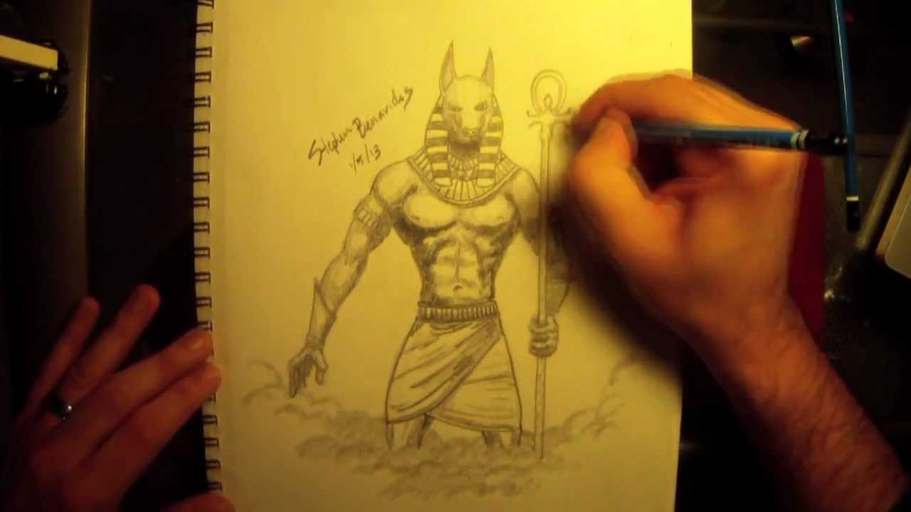 Time Lapse Video Of Anubis Sketch By Stephen R