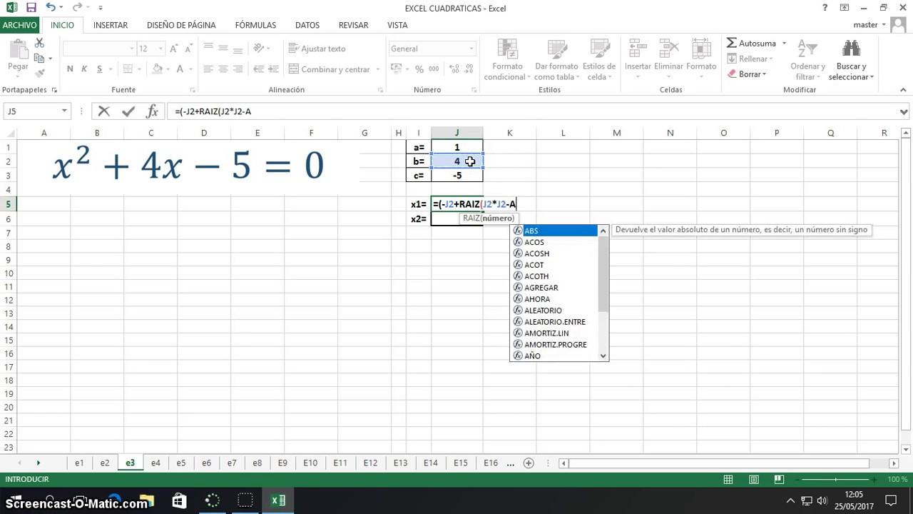 Ecuación general de Segundo Grado en Excel - YouTube