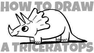 Learn how to draw a cartoon triceratops with easy step by step inst...