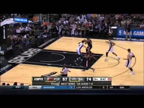 NBA, playoff 2014, Spurs vs. Trail Blazers, Round 2, Game 2, Move 27, LaMarcus Aldridge, layup