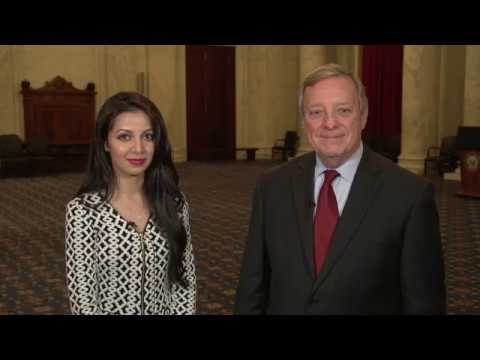 Senator Dick Durbin speaking with DACA Student