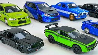 FAST and FURIOUS CARS Diecast Collector Cars Toy Collection Lancer Evo 7 GTR Mustang