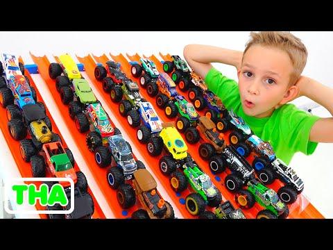 วลาดและนิกิตาเล่นกับรถบรรทุกมอนสเตอร์ของเล่น | รถยนต์ล้อร้อนสำหรับเด็ก
