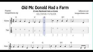 En la Granja del Tio Mac Donald Tablatura y Partitura del Punteo de Guitarra en Sol Mayor