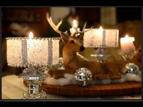 •DOLLAR TREE DIY~ Frosted Glam Candle Holder Centerpiece- Faux Crushed Glass•