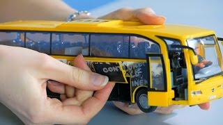 Unboxing toys,  toy yellow bus, play with toys.