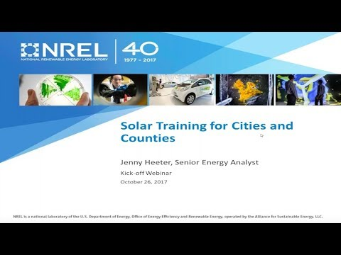 Solar PV Training Program Application for Cities and Countie
