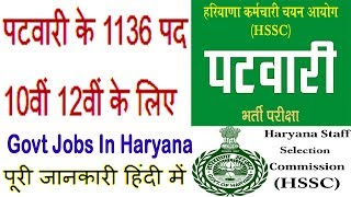 Haryana Patwari Recruitment 2019 www.hssc.gov.in Govt Bharti/Vacancy